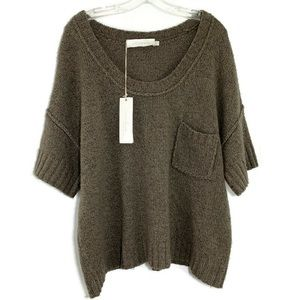 Donna Karan olive short sleeve sweater NWT